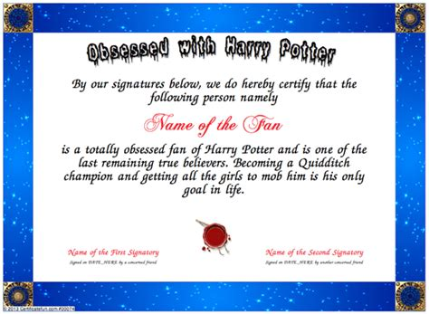 harry potter certificate template obsessed with harry potter