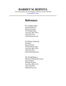 job references page format 1 - Reference Page Format Resume