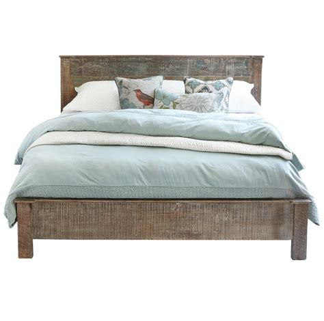 rustic bed frames hton rustic teak wood king bed frame zin home