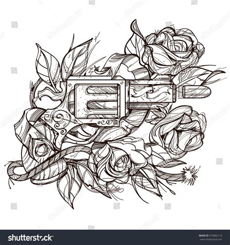 gun rose contour illustration tattoo design stock vector