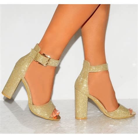 High Heels Gold gold mesh glitter sparkly peep toe ankle