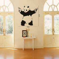 cool crazy panda gun shooting wall stickers decals diy removable sticker girl teen female wings fairy bedroom