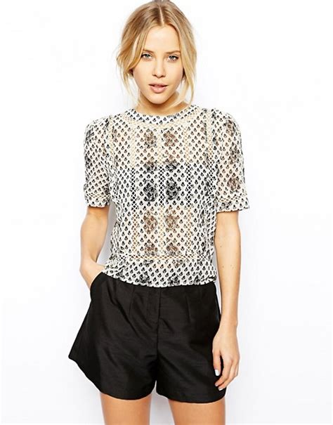 Insert Top by Asos Asos Mono Floral Lace Insert Top
