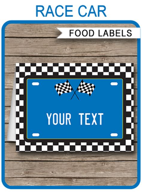 Auto Labels Templates Race Car Theme Food Labels Blue Place Cards Birthday Party