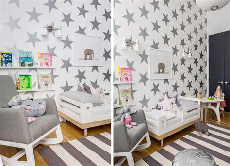 decorar habitacion bebe con estrellas papeles pintados de estrellas para el dormitorio infantil