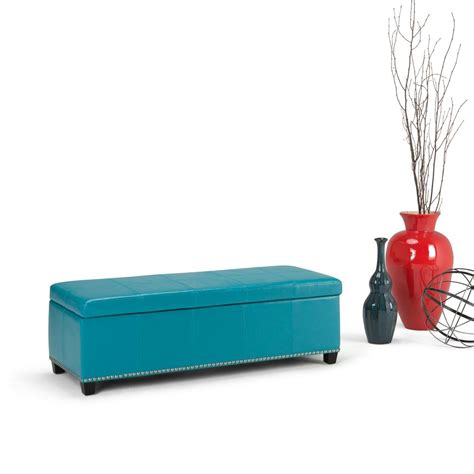 blue storage bench simpli home kingsley mediterranean blue storage bench