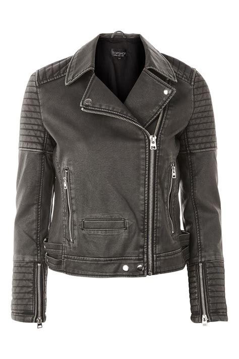 washed faux leather biker jacket topshop