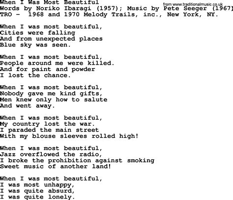 most beautiful in the room lyrics pete seeger song when i was most beautiful lyrics