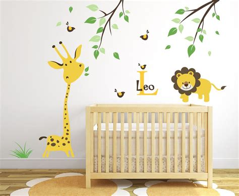 Safari Wall Decals For Nursery Giraffe Wall Decal Jungle Safari Wall Decal Baby Nursery Ideas