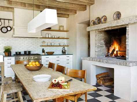 Kitchen With Fireplace Designs World Kitchens Hgtv