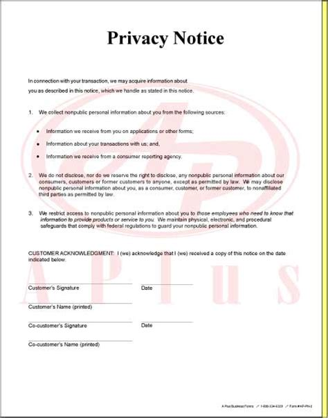 privacy notice template sales forms