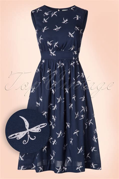 50s dragonfly dress in midnight blue