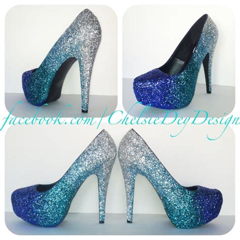 blue sparkly high heels blue glitter high heels aqua turquoise silver ombre
