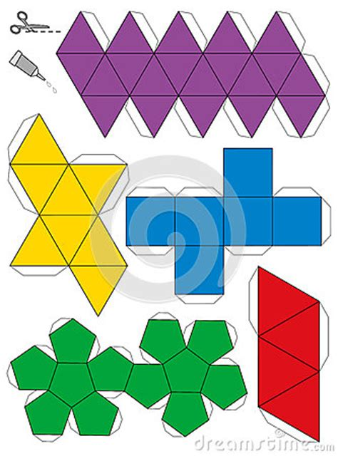 platonic solids templates platonic solids paper model template stock vector image