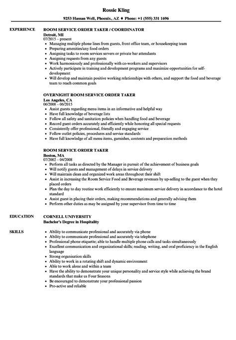 room service order taker resume sles velvet