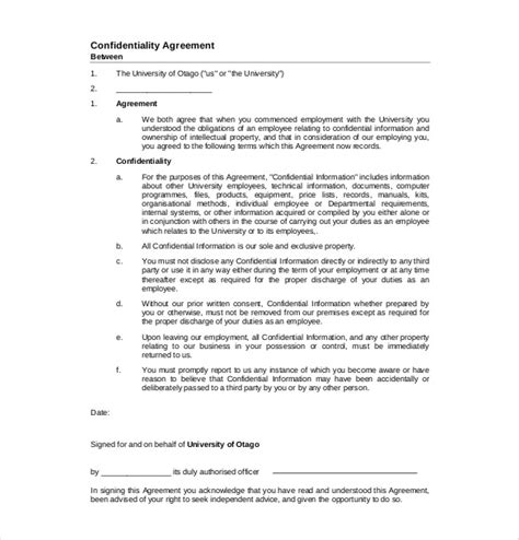 Non Binding Agreement Template 10 Confidentiality Agreement Templates Free Sle Exle Format Download Free Premium