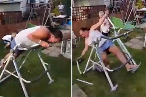 woman falls   working    cross trainer