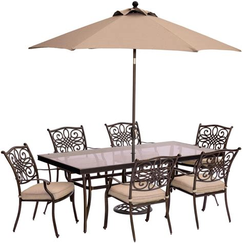 Patio Table Set With Umbrella Hanover Traditions 7 Aluminum Outdoor Dining Set With Rectangular Glass Table Umbrella