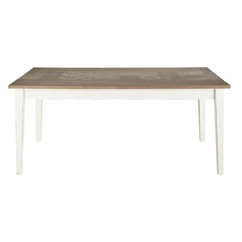 Wood And White Dining Table Mango Wood Dining Table In White W 180cm Leopoldine Maisons Du Monde