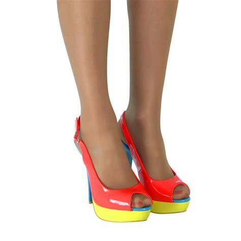 high heel slingbacks womens strappy slingback high stiletto heel platform peep