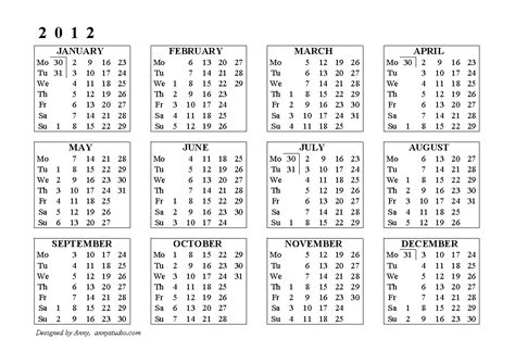 full calendar 2012 your title