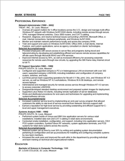 Chronological Resume Format by Sle Chronological Resume