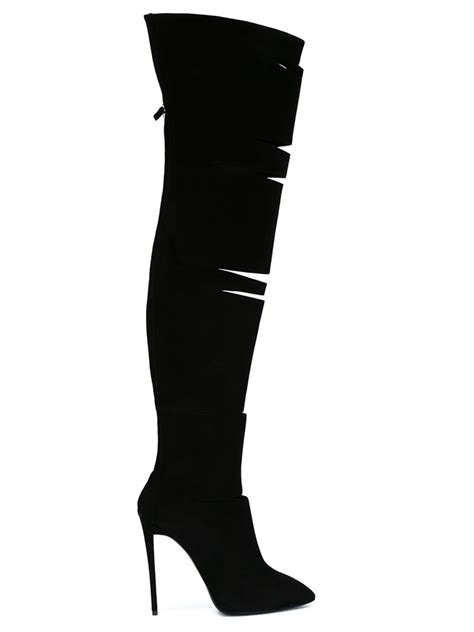 giuseppe zanotti cut out suede thigh high boots in black
