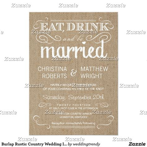 country wedding invitations burlap rustic country wedding
