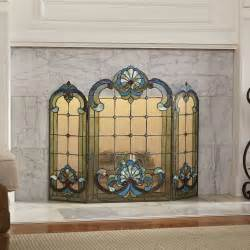green seashell stained glass fireplace screen from