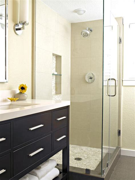 contemporary bathrooms hgtv sleek shower with chrome fixtures and built in shelf