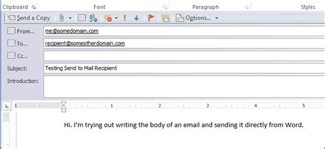 How To Send A Word Document As The Body Of An Email Message Email Template Doc