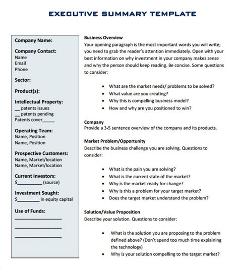 template for executive summary report executive report template 10 documents in pdf