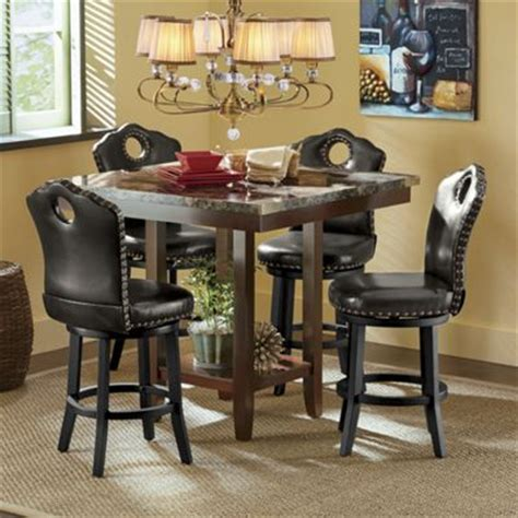 counter height table with swivel chairs faux marble counter height table and nailhead swivel stool