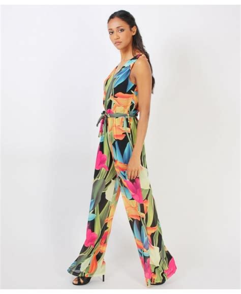 Tropical Print Jumpsuit krisp tropical print chiffon jumpsuit