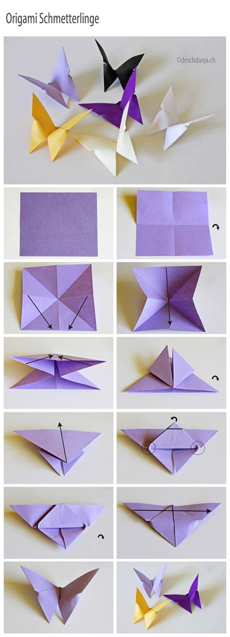Butterfly Paper Folding - easy paper craft projects you can make with