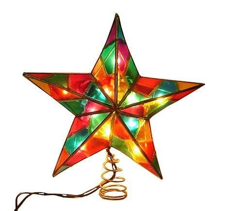 9 lighted multi color mosaic tree topper tree site