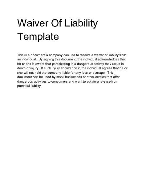 waiver of responsibility template waiver of liability sle waiver of liability template
