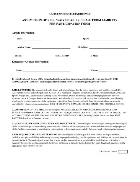 release of liability agreement template generic liability waiver and release form