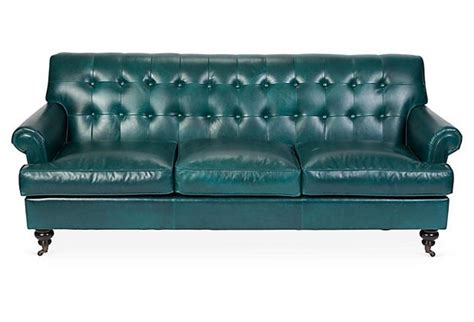 teal leather couch whitby 89 quot tufted leather sofa teal