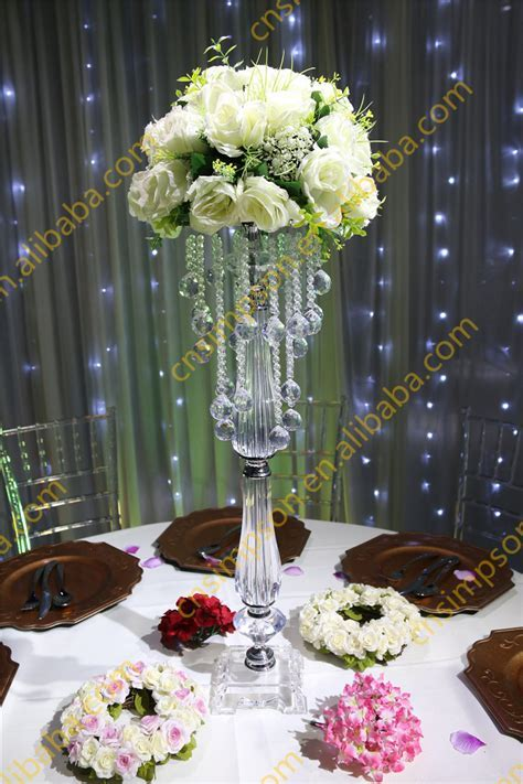 Acrylic Beaded Table Top Chandelier Centerpieces Flower
