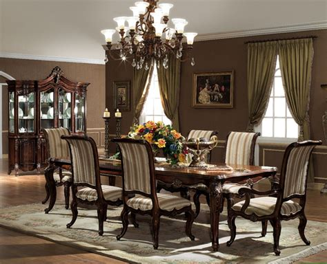 Dining Room Gorgeous Chandelier Above Elegant Formal Dining Room Sets With Long Teak Table And