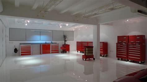 white epoxy flooring modern garage in far east the