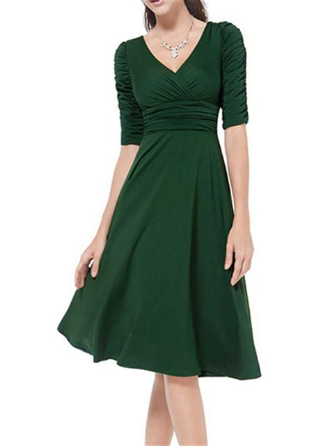 Green Flare Dress knee length dress olive green wrap style bodice fit