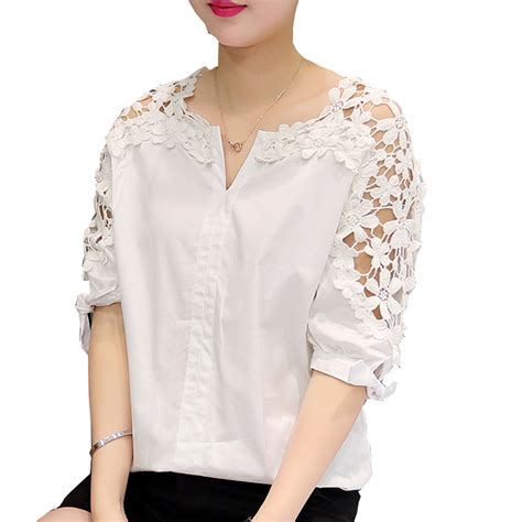 camisas femininas 2017 white shirt tops hollow out flowers cotton lace blouse moda mujer