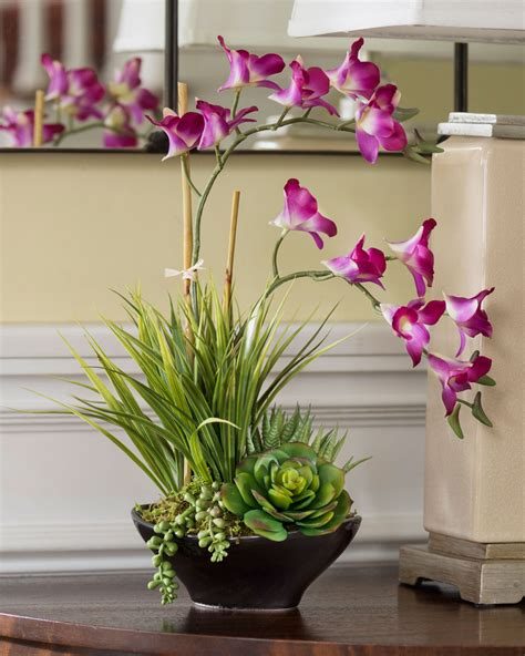 lifelike dendrobium orchids succulents accent planter at petals