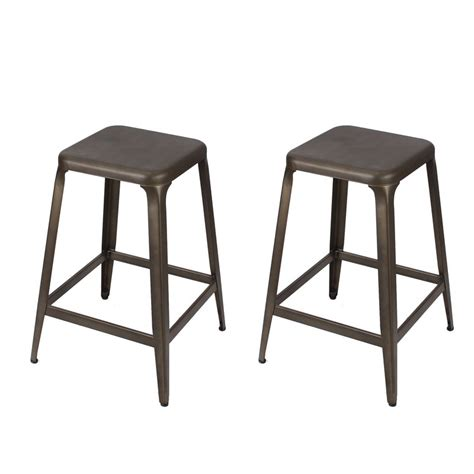 24 Inch Metal Counter Stools by Adeco Bronze Patina Powder Coat Finish 24 Inch