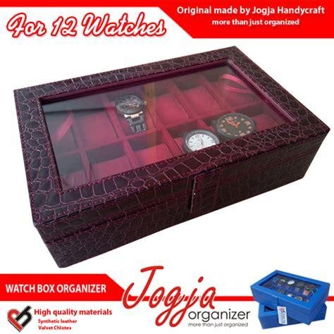 Top Quality Box Kotak Tempat Jam Tangan Isi 12 Mocca maroon croco box organizer for 12 watches kotak jam isi 12