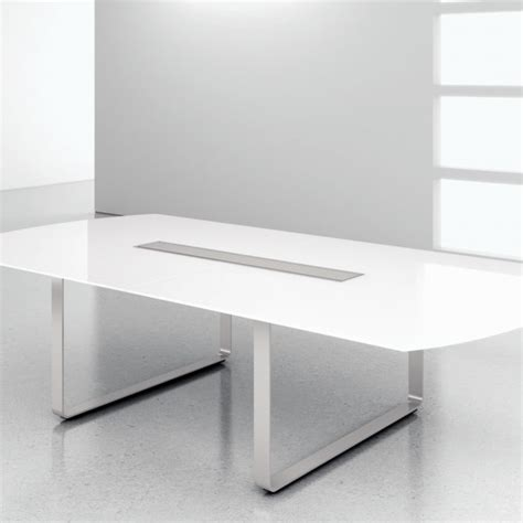 white glass modern conference table ambience dor 233