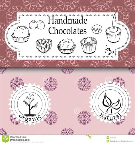 Handmade Confections - vector handmade chocolates packaging templates and design