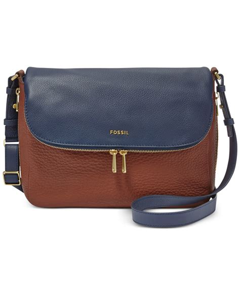 fossil leather colorblock flap large crossbody in blue lyst